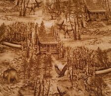 Into The Woods BTY Liz Dillon Quilting Treasures Toile Cabin Deer Bear Woods