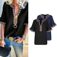 Womens Flare Sleeve T Shirt Ladies Printed Plunging Neck Casual Top Blouse Tee