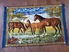 VTG Hand Loomed LEBANESE Wall Hanging Tapestry BROWN WILD HORSES Berlin Germany
