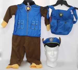 Nick Jr Paw Patrol Chase Police Officer Dog Blue Costume Youth Boys Toddler Size