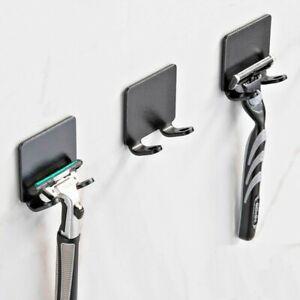 2 PCS Razor Holder Hook Punch Free Storage Bathroom Organizer Shower Wall