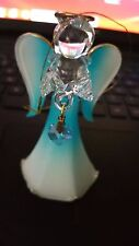 March - Birthstone - Glass Angel - Aquamarine Winged Ornament - 3.5in