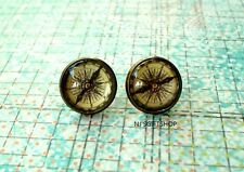 Vintage Compass Cabochon Stud Earrings,Earring Post,Beautiful Gift
