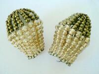 2 GOLD ANTIQUE VINTAGE CZECH BEADED GLASS CRYSTAL LIGHT BULB COVER