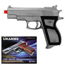 """UK ARMS 6"""" Silver Plastic Airsoft Pistol Handgun Gun w/BBs 130fps Air Soft M777S"""