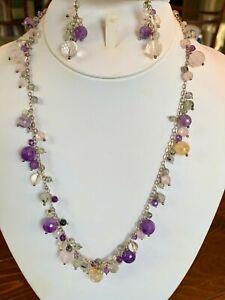 "Amethyst Citrine Rose Quartz Sterling Silver Necklace & Earrings Set chain 22"""