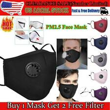 New listing Face Mask With 2 Filters Pm2.5 Pocket Exhalation Valve Reusable Cotto 00004000 n Black