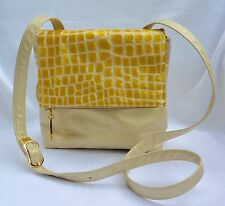 Faux Alligator Purse Soft GOLD Leather Cross Body Bag Yellow Patent Flap Paris