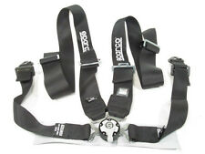 Sparco Racing Seat Belt Safety Harness Black 4-Point 2-Inch Lap 3-Inch Shoulder