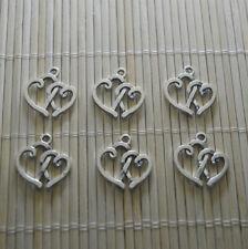 10pcs Tibetan Silver Double Heart Charm Heart Pendant Bead Jewellery Making