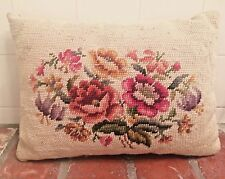 """Shabbychic Look Vintage Floral Sofa Chair Decorative Needlepoint Pillow 14""""X 10"""""""