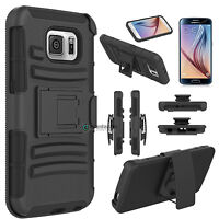 For Samsung Galaxy S6 New Hybrid Defender Case Cover Belt Clip Holster Kickstand