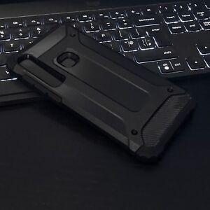 Galaxy A11 Shockproof Heavy Duty Case Rugged Bumper Metallic MK5  Black