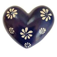 Medium Navy Blue Flowers Heart - Soapstone - Handmade in Kenya - Fair Trade