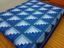Queen size machine pieced Log Cabin  Patchwork quilt / #NJ-53Q