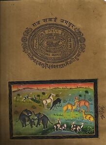 Indian Forest Animal Miniature Painting Watercolor Art Stamp Paper Painting Boho