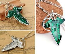 Fashion Lord of The Rings Green Leaf Elven Pendant Chain Necklace Pin Brooch EY