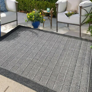 Grey Bordered Outdoor Rugs for Garden Flat Reversible Weatherproof Patio Rug