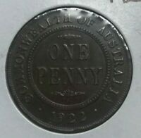 1922 Australia 1 One Penny - Nice XF - Some Rim Dings