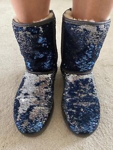 ugg Boots Size 7.5 midnight Blue Sequinned