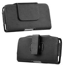 Leather Belt Clip Holster Pouch Horizontal Phone Holder Luxmo All Black