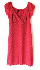 Trixxi Mini Dress Pink with White Polka Dots Womens Juniors Size Large L V-Neck