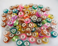 Wholesale 100pcs Bulk Lots Mixed Acrylic Faceted Beads Fit Charm Bracelet SX08