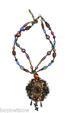 Chico's Multicolored Statement Stone Necklace  Pierced Earrings Vintage Style