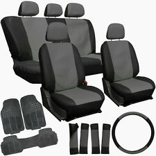 20pc Faux Leather Gray Black Truck Seat Covers Set Heavy Duty Rubber Floor Mats