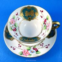 Hand Painted Trimont China Floral & Gold Occupied Japan Tea Cup & Saucer