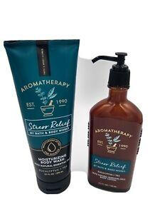 Bath & Body Works Aromatherapy STRESS RELIEF Eucalyptus + Tea Body Wash + Lotion