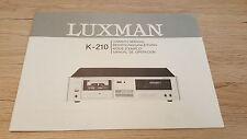 Originale Luxman Mode d'emploi K-210 Garantie 12 Mois