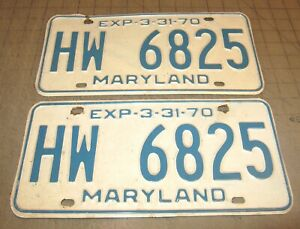 1970 Matching Pair of Maryland License Plates - HW 6825 - White w/Blue Letters