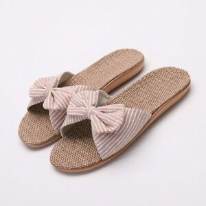 Womens Stripes Bow Slippers Cotton Linen Indoor Shoes Style Slipper Flip Flops