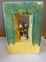 Vintage 1951 McCoy Pottery Arcature Vase Planter Bird in Frame Green Yellow
