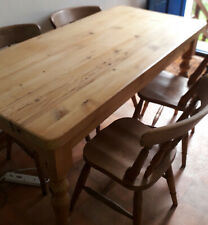 More details for large pine table 5ft with 4 pine vintage stickback farmhouse chairs + rustic
