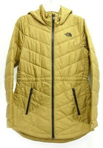 New North Face Womens Tan Athletic Tamburello Hoodie Jacket Coat Parka S
