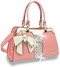 Bow and Rhinestone Accent Pink Patent Handbag with Attachable Strap