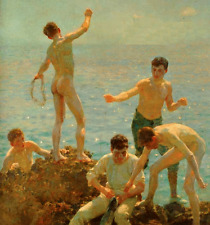 Oil painting Henry Scott Tuke - Nude young boys fishing by the ocean canvas