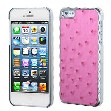 For iPhone 5 5S SE HARD Case Cover Alloy Chrome Hot Pink Ostrich Leather Plating