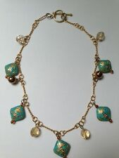 Turquoise Enamel & Topaz Bead Gold Necklace, 16.5""