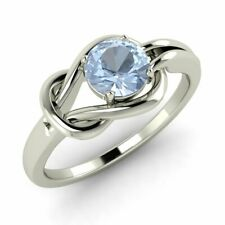 Certified 0.40 Ct Natural Aquamarine 14k White Gold Solitaire Engagement Ring