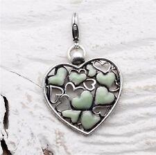 PILGRIM Clasp-On-Charm Vintage Silver/Opal Green Enamel LOTS-OF-LOVE Heart BNWOT