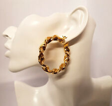 Twisted Round Big 9ct Gold Plated Hoop Earrings Large Circle Creole Chic Hoops