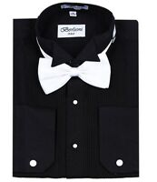 Berlioni Men's Wedding Tuxedo Wingtip Collar W/ Bow-tie Best Dress Shirts Black