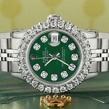 Rolex Datejust Steel 26mm Jubilee Watch 2CT Diamond Bezel Forest Green MOP Dial