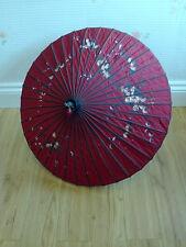 RARE VINTAGE CINESE GRANDE DECORAZIONE BAMBOO Parasol Ombrello