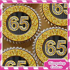EDIBLE ICING SHEET 24 x 25TH HAPPY BIRTHDAY BLACK /& DIAMOND CUPCAKE TOPPERS 8364