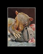 aceo baby squirrel mice toy miniature original art cart painting