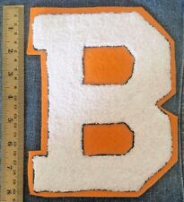 Chenille Patch Letter Initial B White Orange Vtg Letterman Sew On Embroidered